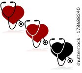 icon set showing a heart and a... | Shutterstock . vector #178688240
