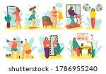 overweight people on diet... | Shutterstock .eps vector #1786955240