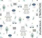 seamless pattern cartoon animal ... | Shutterstock .eps vector #1786967630