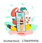 overweight woman on diet  fat... | Shutterstock .eps vector #1786999496
