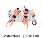 relaxing people  sunbathing... | Shutterstock .eps vector #1787015186