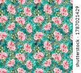 seamless floral pink flower...   Shutterstock . vector #1787021429