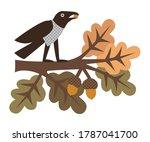 crow sitting on an oak branch... | Shutterstock .eps vector #1787041700