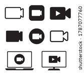black camera icon set. live...