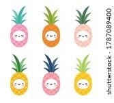cute pineapple fruit kawaii... | Shutterstock .eps vector #1787089400
