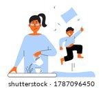 frustrated parent concept.... | Shutterstock .eps vector #1787096450