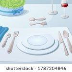 served for dinner festive table.... | Shutterstock . vector #1787204846