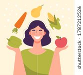 Smiling Woman With Vegetables...
