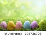 row of easter eggs in fresh... | Shutterstock . vector #178726703