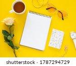 flat lay mockup feminine desk... | Shutterstock . vector #1787294729