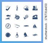 nautical icon set and sea food...