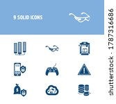 hardware icon set and cloud...