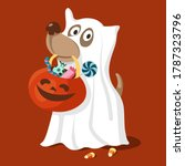 cute dog in a ghost costume... | Shutterstock .eps vector #1787323796