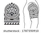 maori tribal style tattoo... | Shutterstock .eps vector #1787350910