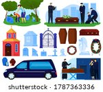 funeral burial cemetery death...   Shutterstock .eps vector #1787363336