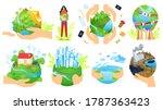 planet in people hands vector... | Shutterstock .eps vector #1787363423