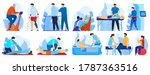 people in orthopedic therapy... | Shutterstock .eps vector #1787363516