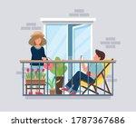 people on balcony  coronavirus... | Shutterstock . vector #1787367686