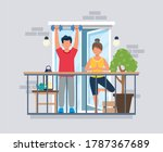 people on balcony doing workout ... | Shutterstock . vector #1787367689