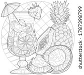 fruit cocktail. coconut ... | Shutterstock .eps vector #1787398799