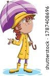 cartoon girl with umbrela.... | Shutterstock .eps vector #1787408696