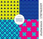 4 geometric textures  seamless... | Shutterstock .eps vector #1787463329