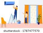 repair air conditioner flat...   Shutterstock .eps vector #1787477570