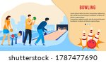 people play bowling game flat... | Shutterstock .eps vector #1787477690