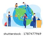 Cleaning Planet People Vector...