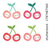 cute cherry fruit kawaii face... | Shutterstock .eps vector #1787487560
