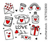 love doodles elements. cute... | Shutterstock .eps vector #1787502800
