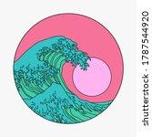 great wave off kanagawa in... | Shutterstock .eps vector #1787544920