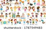 set of cute kids cartoon... | Shutterstock .eps vector #1787549483