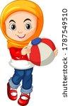 muslim girl holding color ball... | Shutterstock .eps vector #1787549510