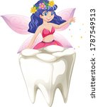 fairy tales sitting on tooth... | Shutterstock .eps vector #1787549513
