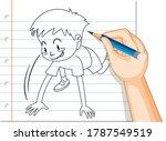 hand writing of boy starting... | Shutterstock .eps vector #1787549519