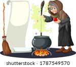 Old Witch With Black Magic Pot...