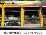 Burned And Abandoned School Bus