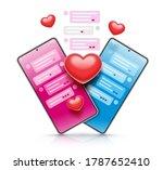 virtual love. couple chatting...   Shutterstock . vector #1787652410