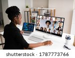 watching video conference... | Shutterstock . vector #1787773766