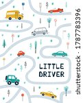 children's posters with cars ... | Shutterstock .eps vector #1787783396