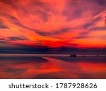 Fiery Red Purple Sunset Over...