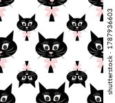 black cat head seamless pattern ... | Shutterstock .eps vector #1787936603