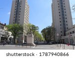 Small photo of Villeurbanne, France - 05 01 2019 : Residential building in the Gratte Ciel district of Villeurbanne, urban complex of skyscrapers built from 1927 to 1934, town of Villeurbanne, France