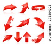 red arrow icon set. raster copy. | Shutterstock . vector #178804328