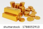 3d render of gold bars and coin. | Shutterstock . vector #1788052913