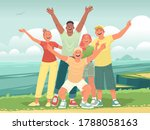 happy friends on a journey to... | Shutterstock .eps vector #1788058163