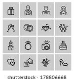 vector black wedding icons set | Shutterstock .eps vector #178806668