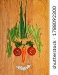 face made of fresh vegetables  | Shutterstock . vector #1788092300