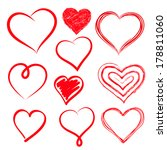 vector hearts set. hand drawn. | Shutterstock .eps vector #178811060